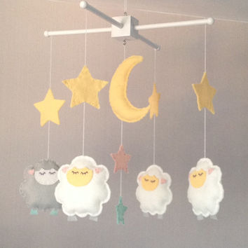Baby Mobile Sleepy Sheep And Stars Cot Nursery Decor