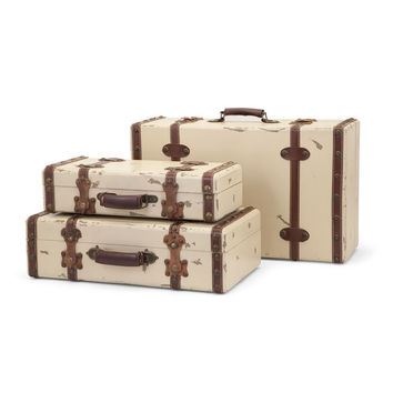 Antique Ivory Suitcases Set Of
