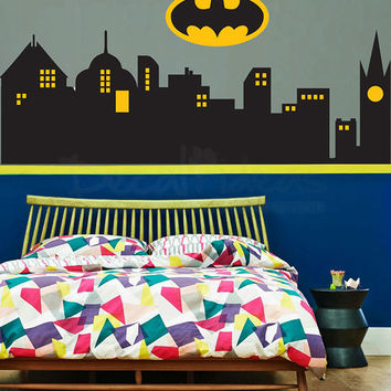 Batman Gotham City Skyline Buildings From Stunningwalls On Skyline Wall  Mural Part 45