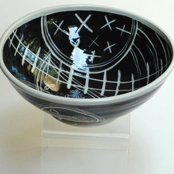 Pottery Bowl Ceramic Platter Decorative Black White