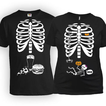 Pregnancy Costume Baby Announcement Pregnant Mom Gifts For New Dad Skeleton Shirt Maternity Clothing