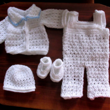 Baby Boy Overall Cardigan Hat And Shoes Pattern 5 Sizes New