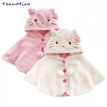 Baby Clothes Kids Poncho Cloak Children Coat Infant Jacket Newborn Cape Pink White Hooded