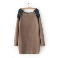 Autumn Women's Fashion Stylish Strong Character Patchwork Pullover Knit Sweater [8542272775]