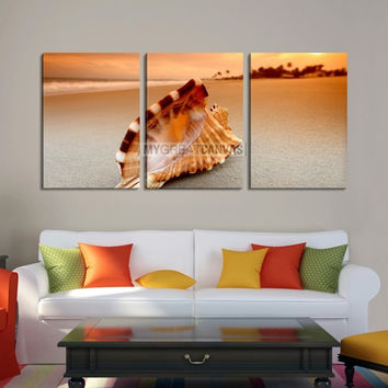 Large Wall Art Canvas Big Shell on Beach at Sunset