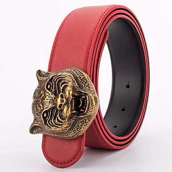 GUCCI tide brand men and women tiger head buckle simple wild jeans belt #3