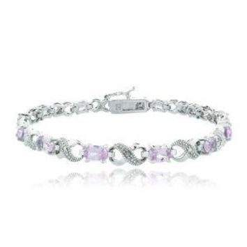 10.00 CT Genuine Amethyst Infinity Bracelet Embellished with Swarovski Crystals in 18K White Gold Plated