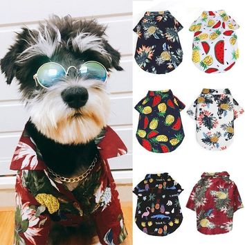 Dog Clothes for Small Dogs Hawaii French Bulldog Shirt Fashion Summer Jacket for Chihuahua Cool Coat for Pug Dog Costume XS-XL