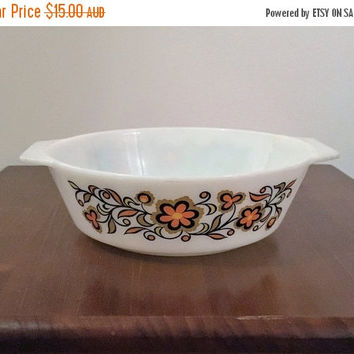 "PYREX SALE: Vintage 1970s JAJ English Pyrex 3 Pint Round Casserole Dish ""Orange Meadow"" Pattern 513 / Retro Pyrex Milk Glass Casserole Dish"