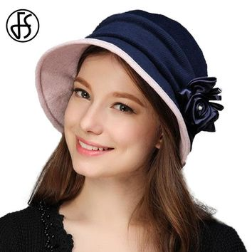 FS New Women Church Hats Winter Autumn Felt Hat Elegant Style Silk Flower Buckets Vintage Hat Fedoras Female Headwear 2017