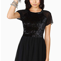Black Sequined Pleated Chiffon Dress