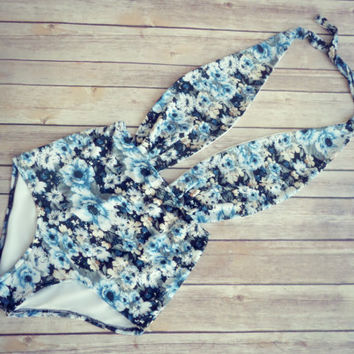 Beautiful Swimsuit - Vintage Retro Style High Waisted Pin-up Swimming Costume Swimwear - Blue Vintage Floral Print Bathing Suit