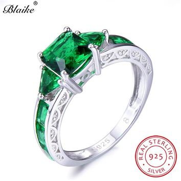 Blaike 100% Real 925 Sterling Silver Square Emerald Rings For Women Fine Jewelry Green Zircon May Birthstone Ring Female Wedding