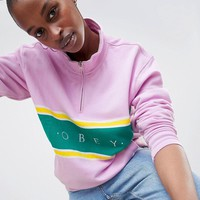 Obey Oversized Funnel Neck Sweat With Half Zip at asos.com