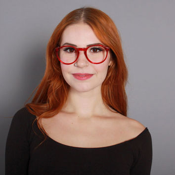 80s RED GLASSES FRAMES / 1980s Oversized Transparent Red Eyeglasses