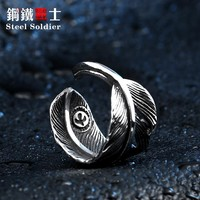 Steel soldier new style stainless steel men feather ring fashion opening small eagle poular for japan jewelry