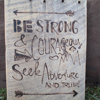 Barn Wood Wall Art - Joshua 1:9 Bible Verse - Be Strong and Courageous Seek Adventure and Truth - Kid Room -  Reclaimed Barn Wood Sign