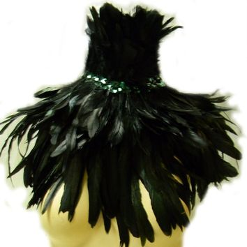 Gothic Raven Feather Collar Burlesque Corset Collar Capelet Gothic Day of the Dead