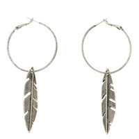 18G Steel Feather Charm Hoop Earrings