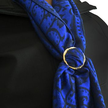 Evelots Hammered Rose Gold-Toned Round Scarf Ring, Scarves Accessory Jewelry