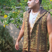 Tribal Mens Hooded Vest With Fringe In Authentic Ikat Waist Coat With Fringe