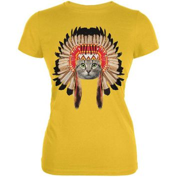LMFCY8 Thanksgiving Funny Cat Native American Juniors Soft T-Shirt