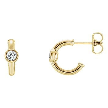 4 x 12mm 14k Yellow Gold 1/4 CTW (G-H, I1) Diamond J-Hoop Earrings