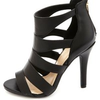 Caged Cut-Out Peep Toe Heels by Charlotte Russe - Black