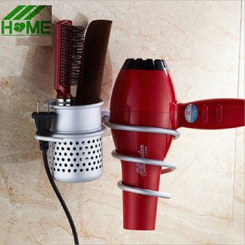 Aluminium Wall Mount Hair Dryer Holder Stand and Organizer Salon Bathroom Mounted Spiral Drier Comb Rack Storage Suction