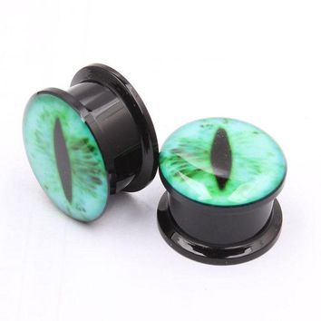 ac DCCKO2Q 1Pair Acrylic Snake Eye Green Black Eye Ear Plug Piercing Screw Fit Gauge Ear Flesh Tunnel Ear Reamer Sexy Fashion Body Jewelry