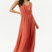 Smocked Split-Neck Maxi Dress