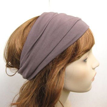 Dove Grey - Light Fawn Brown Turban Head Wrap, Women's Yoga Headband, Taupe Turband, Wide Head / Hair Band, Hair Accessories