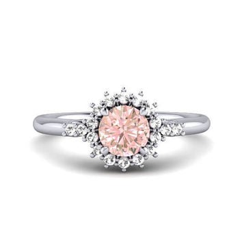 MORGANITE & Diamond Engagement Ring Promise Platinum Ring 14k 18k White Gold Rose Gold Diamond Cluster Alternate Wedding Ring by HALOGLYPH