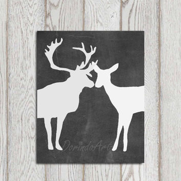 Deer print printable Chalkboard stag doe couple Black Gray white Wall poster art Home Decor Anniversary gift Forest Woodland Animal DOWNLOAD