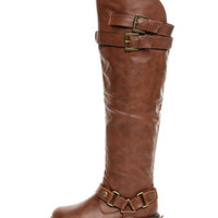 Dollhouse Hit Chesnut Biker Babe Belted OTK Motorcycle Boots - $69.00