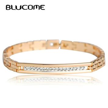 Blucome New Copper Crystal Bracelet for Women Rose Gold Color Link Pulseiras Female Stainless Steel Bracelets Bangles Hand Chain