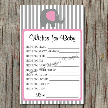 Printable Dear Baby Shower Game Wishes for Baby diy Baby Shower Game Instant Download Advice for Baby Game Gum Pink Grey Girl - 042