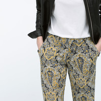 Straight print trousers with pockets