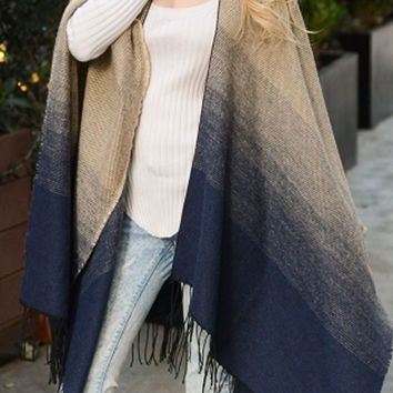 Navy Classic Ombre Style Poncho