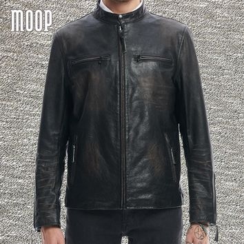 Black genuine leather jacket coat men washed vintage cowskin leather motorcycle jackets zipper cuffs chaqueta moto hombre LT1368