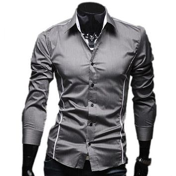 New Brand Hot Plus 3XL Size Fashion Solid Mens Dress Shirts Casual Slim Fit Long-sleeves Social Camisa Masculina for Man