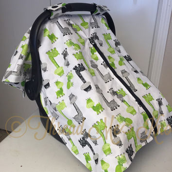 Gray & Green  Car Seat Canopy