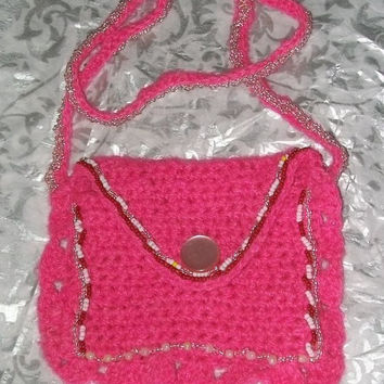 Pink Crochet Purse Wallet for coins credit cards Key by labostyle