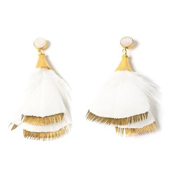 Painted Feather Earrings in White