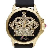 Juicy Couture 'Jetsetter' Pave Dial Reverse Pattern Strap Watch, 38mm