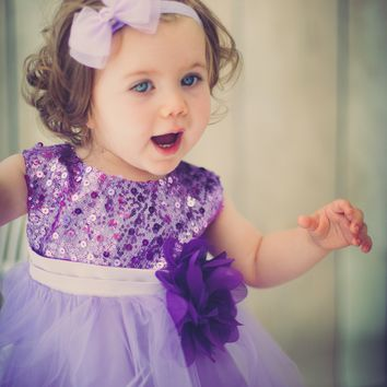 Lavender Sequin Party Dress with Lettuce Hem Tulle Skirt Baby Girls 3M-24M