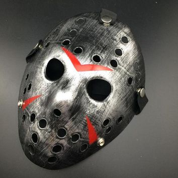 DCK9M2 Silver Color New Make Old Cosplay Halloween Mask Jason Voorhees Freddy Hockey Festival Party Halloween Masquerade Mask 1 Piece