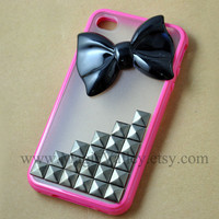 Iphone 4 case, Iphone 4S case, GunMetal stud Iphone 4 case with Black bow, Fit for Iphone 4, Iphone 4s, Iphone 4g