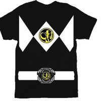 The Power Rangers Black Rangers Costume T-shirt Tee
