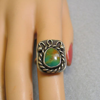 1970s Signed Native American Turquoise Sterling Ring Size 5